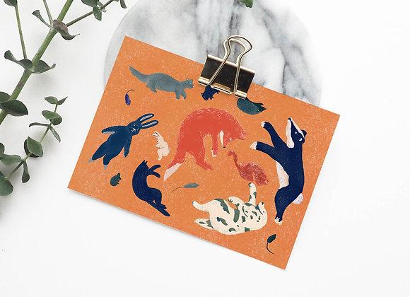 Postkaart: bosdieren (incl omslag)