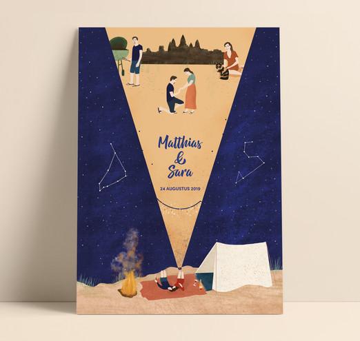 Sara & Matthias - trouwposter vouwbaar tot A6 formaat