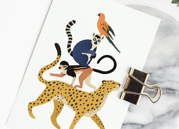 Postkaart: stapel dieren