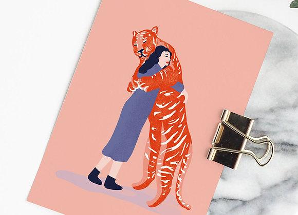 Postkaart: Knuffel tijger