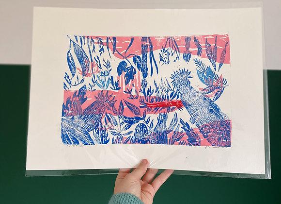 Koopje: originele linosnede print A3