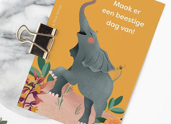 Postkaart: Beestige dag! (Soft touch)