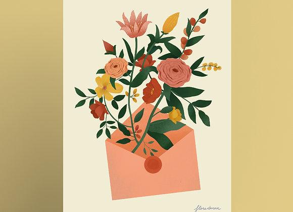 Print: bloemen