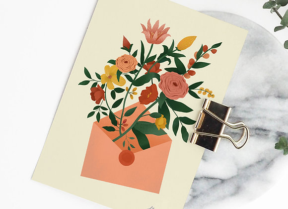 Postkaart: bloemen (incl omslag)