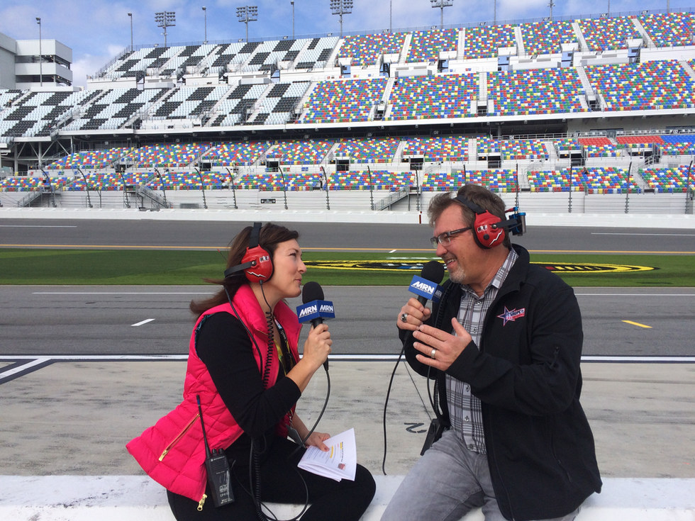 Cohosting a live show from Daytona 500 Qualifying day at Daytona International Speedway