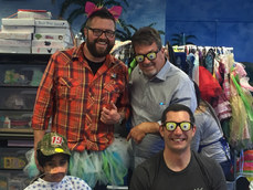 Rutledge Wood (top left), Mike Skinner (top right) and Max Papis (bottom right) visiting patients at a children's hospital during the Toyota Pro/Celebrity Race weekend in Long Beach.