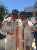 Mike Skinner with Adam Carolla (left) at the Toyota Pro/Celebrity Race at the Long Beach Grand Prix.