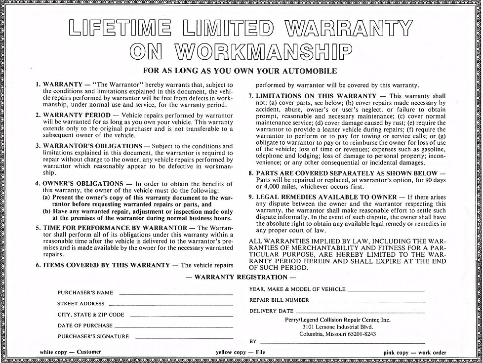 A copy of our Lifetime Warranty on our workmanship