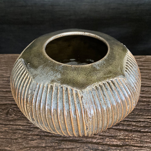 Green Faceted Vessel