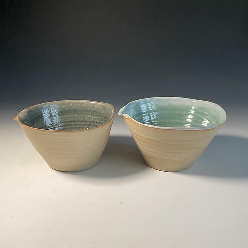 2 x cereal bowls olive green and turquoise