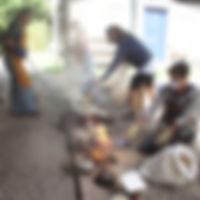 Raku firing during Raku workshop at Forest Row School of Ceramics
