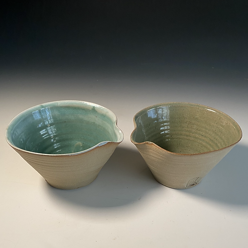 2 x cereal bowls Turquoise and Green
