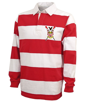 Red and White Rugby Collared Pullover