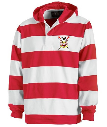 Red and White Rugby Hooded Shirt