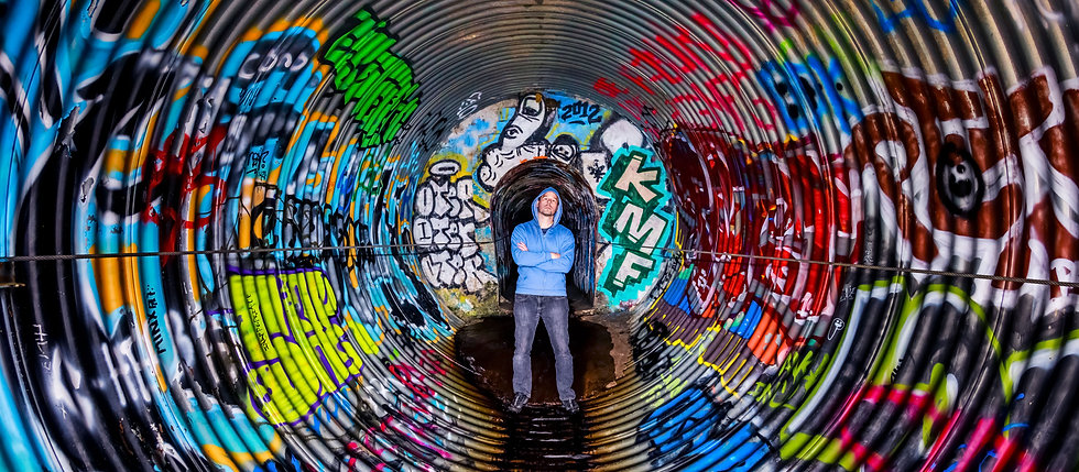 Self-portrait-inside-storm-drain,-Minnea