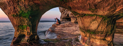 Self-portrait,-Paradise-Point-sea-cave,-