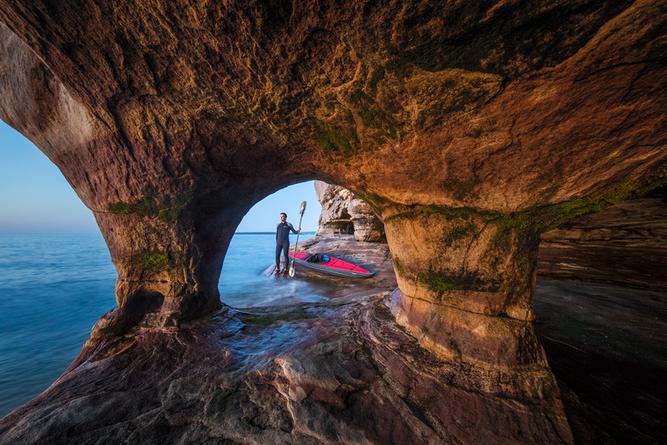 Self-portrait-inside-a-sea-cave-2,-Lake-