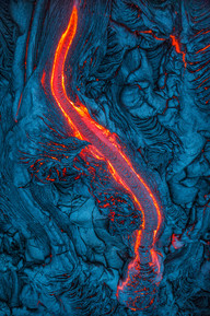 Aerial-view-of-surface-lava-flow-3,-Hawa