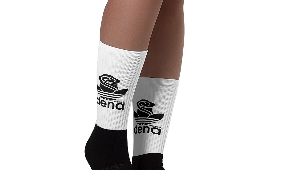 """MADE IN DENA"" Adidas-Inspired Black Logo Socks"