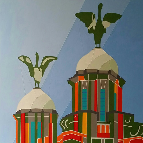 'Royal Liver Building, Liverpool' Limited Edition Print 37x37cm