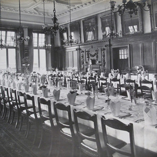 Officers' Mess Dining Room laid out for a formal dinner