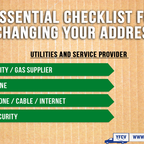 Essential Checklist for Changing Your Address. Part 1