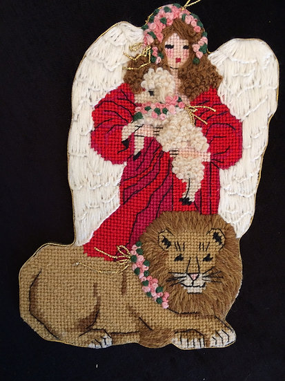 Peaceable Kingdom - Red Angel with Lion - B329