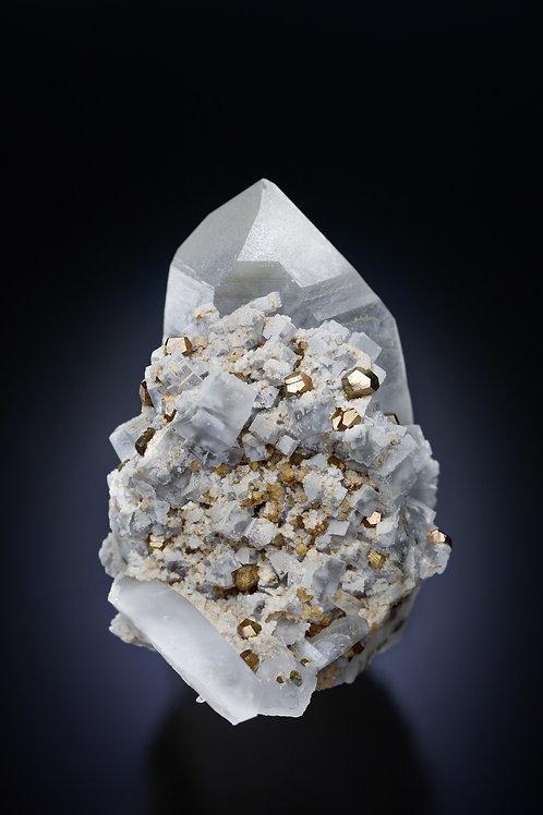 Quartz with Fluorite and Pyrite