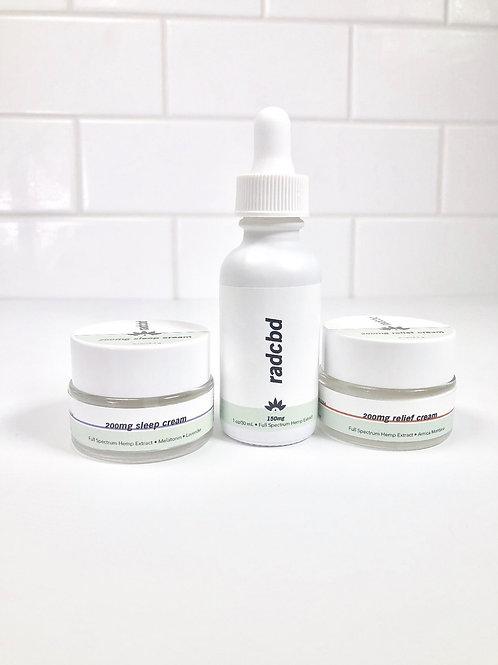 CBD Kit (2oz RELIEF + 2oz SLEEP + Oral Tincture)