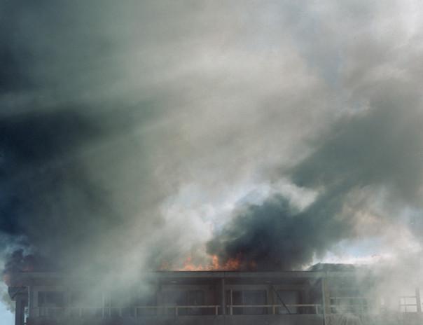 Burning roof in Turku