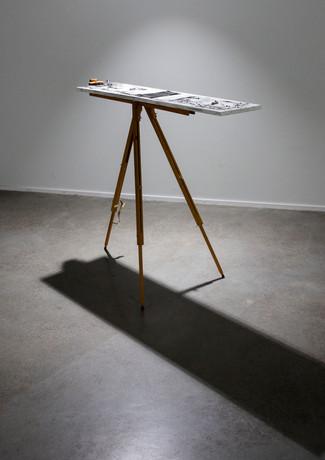 Instrument #2, 2019 Wood, alumnium, steel, nickel plated steel string, painting stand 104 x 28 x 100 cm Unique
