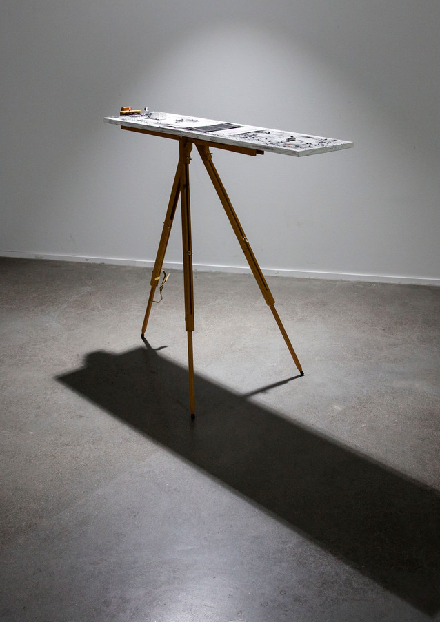 Instrument #2, 2019 Wood, alumnium, steel, nickel plated steel string, painting stand 104 x 28 x 100 cm Unique