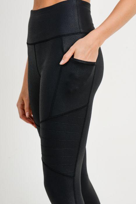 Highwaist Foil Moto Pocket Leggings