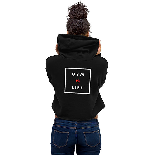 Box Gym Is Life Crop Hoodie Black