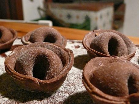 La cocina de Selvabella: Tortelli de chocolate rellenos de crema de castañas, mascarpone y avellana