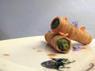 La cucina di Selvabella: Cannoli ripieni di cime di rapa, acciuga del Cantabrico e pecorino di Pienz