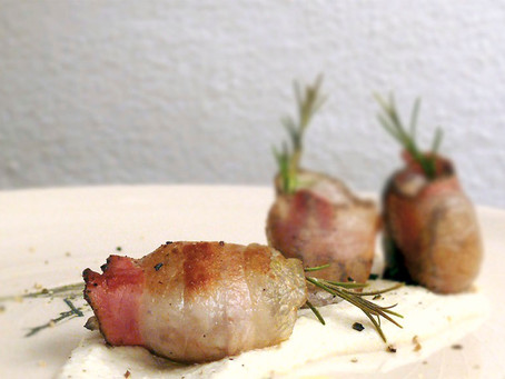 La cocina di Selvabella: Bocconcini de castaña y panceta con fondue de requesón ahumado