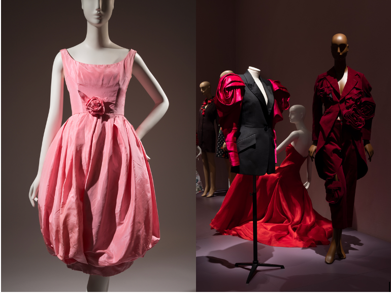 """Christian Dior (Yves Saint Laurent) cocktail dress and Halston """"American Beauty Rose"""" evening dress on seated mannequin"""