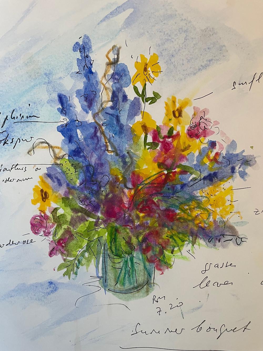 A floral arrangement sketch by Bella Meyer