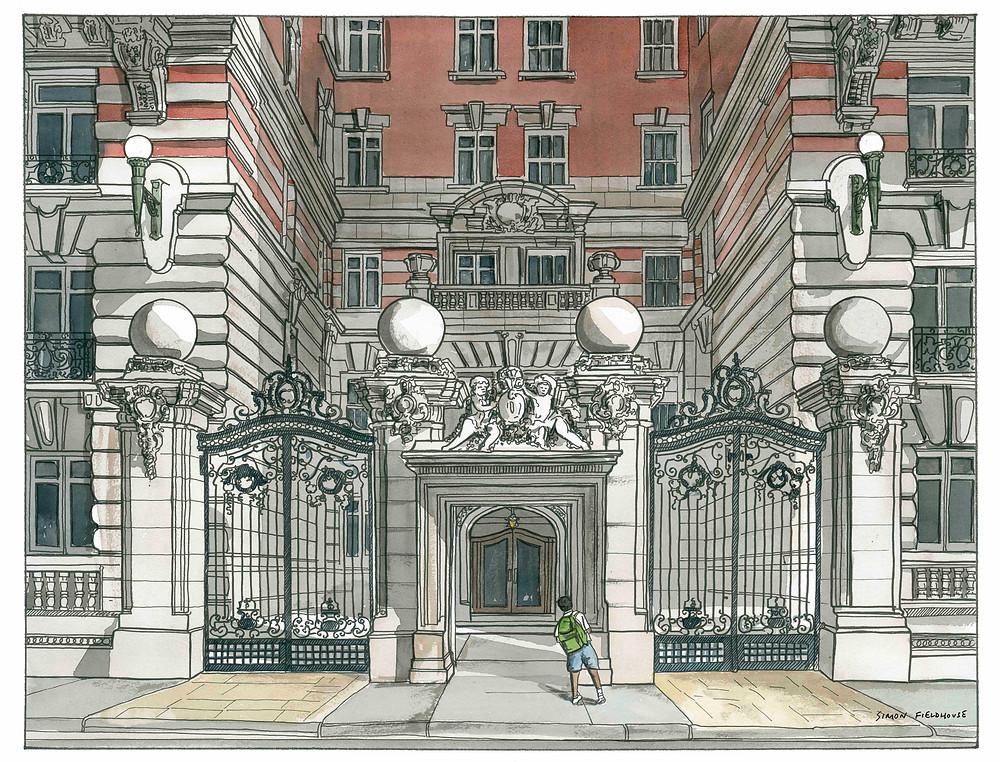 Illustration of The Dorilton building in New York City by Simon Fieldhouse