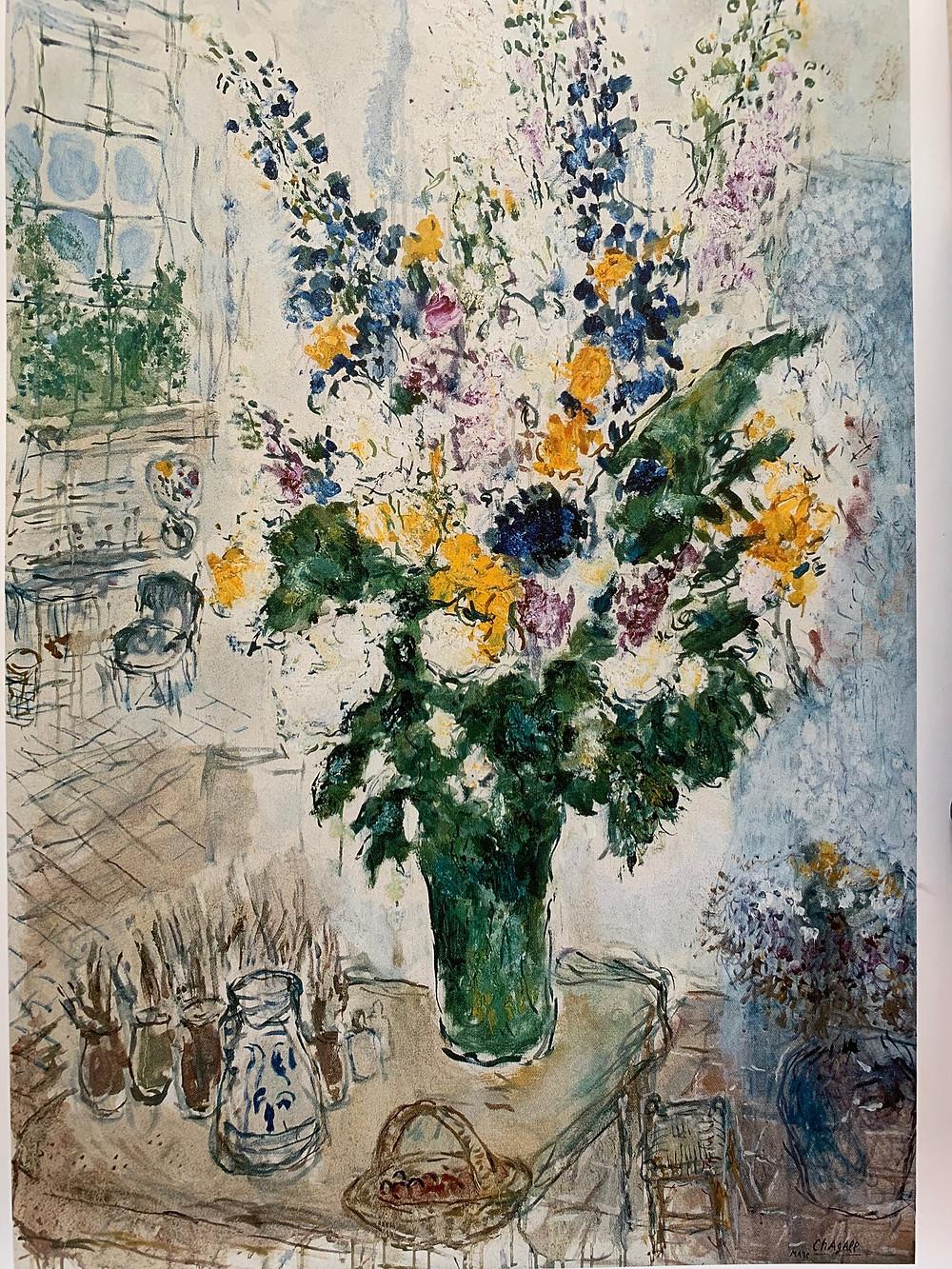 A painting of flowers by Marc Chagall, L'Atelier à Saint Paul-de-Vence