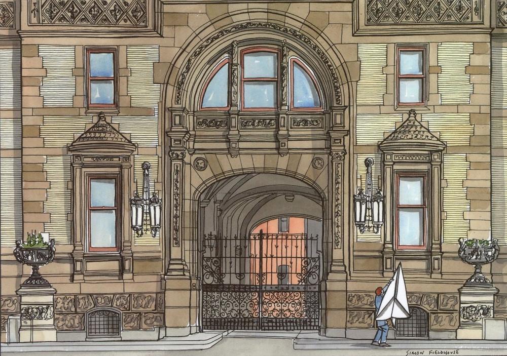 Illustration of The Dakota Building in New York City by Simon Fieldhouse
