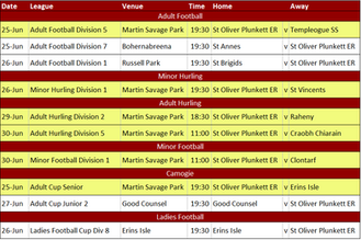 This Week's Fixtures 24th June