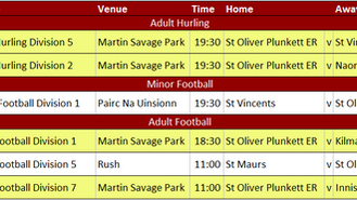 This Week's Fixtures 22nd July