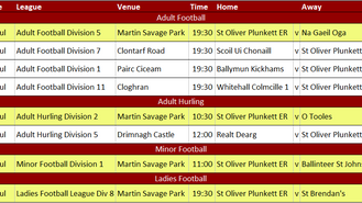 This Week's Fixtures 16th July