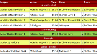 This Week's Fixtures 3rd July & Results Round Up