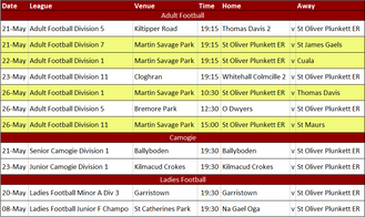 Club Fixtures 20th-26th May