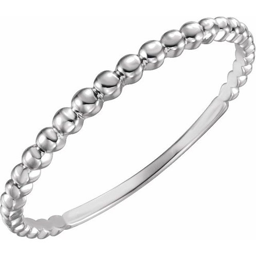 14k white gold bead stackable ring