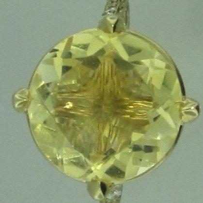 10 ct Yellow Citrine and diamond ring
