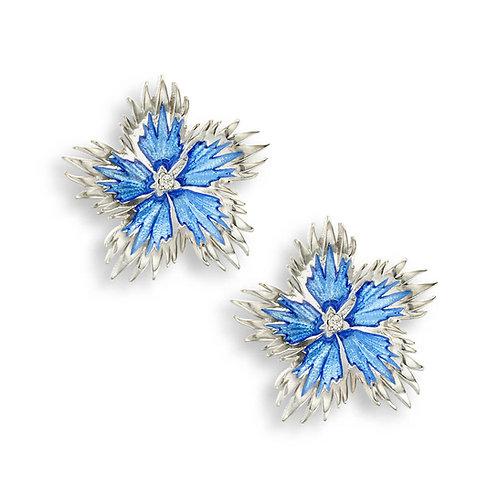 Sterling Silver Blue Rock Flower Stud Earrings. White Sapphire.